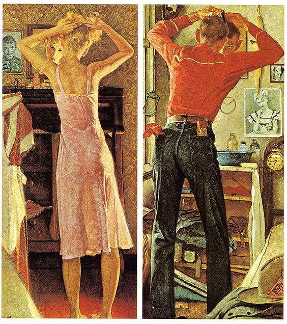 Norman Rockwell 男女の支度画像
